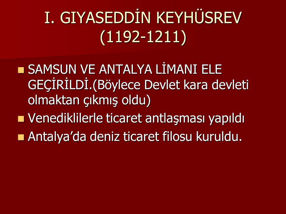 II.SÜLEYMAN (RÜKNEDDİN) ŞAH 1196-1204 SALTUKOĞULLARI BEYLİĞİNE SON VERMİŞTİR.