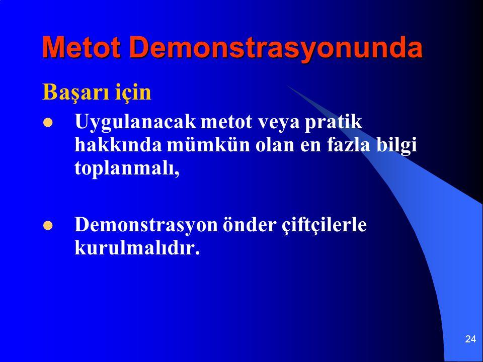 24 Başarı için Uygulanacak metot veya pratik hakkında mümkün olan en fazla bilgi toplanmalı, Demonstrasyon önder çiftçilerle kurulmalıdır. Metot Demon