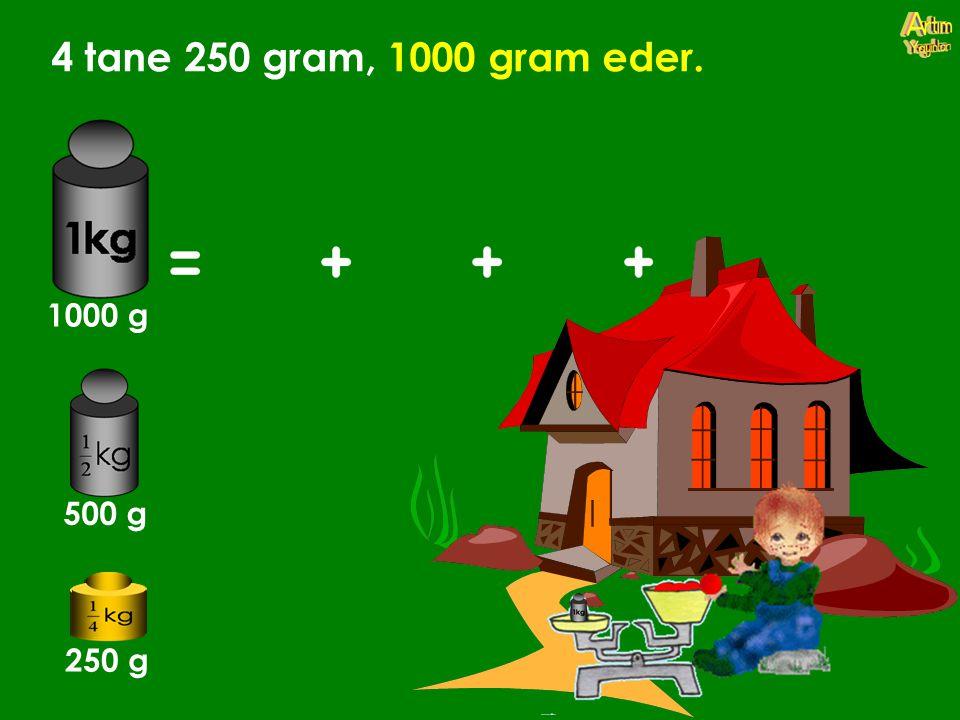 4 tane 250 gram, 1000 gram eder. 1000 g 500 g 250 g