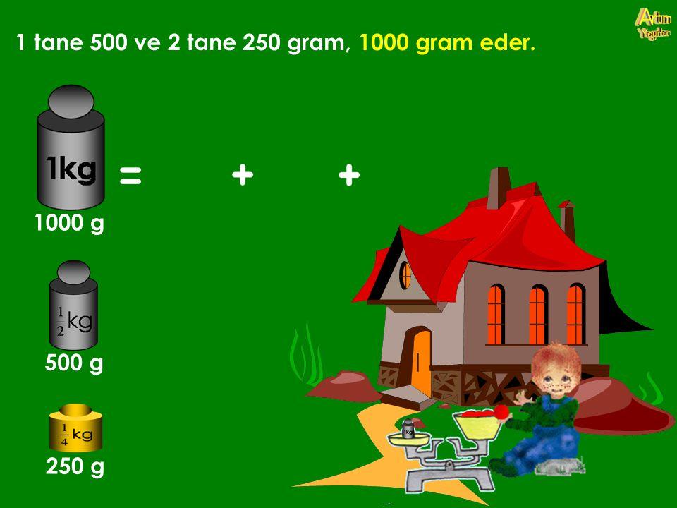 1 tane 500 ve 2 tane 250 gram, 1000 gram eder. 1000 g 500 g 250 g