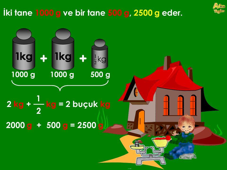 İki tane 1000 g ve bir tane 500 g, 2500 g eder. 2 kg +kg = 2 buçuk kg 2000 g +500 g = 2500 g 1000 g 500 g