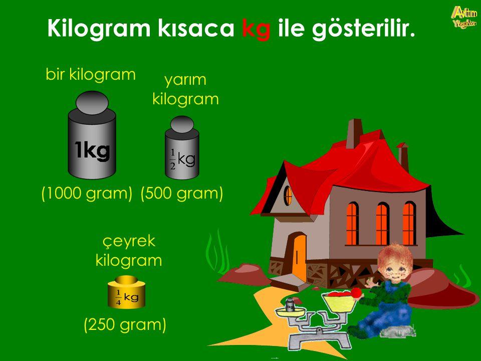 Kilogram kısaca kg ile gösterilir. bir kilogram (1000 gram) yarım kilogram (500 gram) çeyrek kilogram (250 gram)