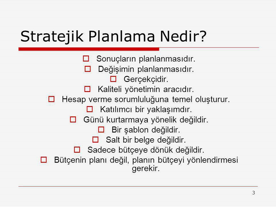 3 Stratejik Planlama Nedir?  Sonuçların planlanmasıdır.  Değişimin planlanmasıdır.  Gerçekçidir.  Kaliteli yönetimin aracıdır.  Hesap verme sorum