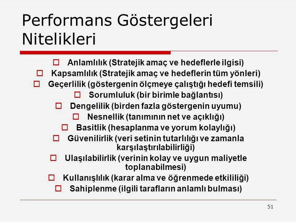 51 Performans Göstergeleri Nitelikleri  Anlamlılık (Stratejik amaç ve hedeflerle ilgisi)  Kapsamlılık (Stratejik amaç ve hedeflerin tüm yönleri)  G