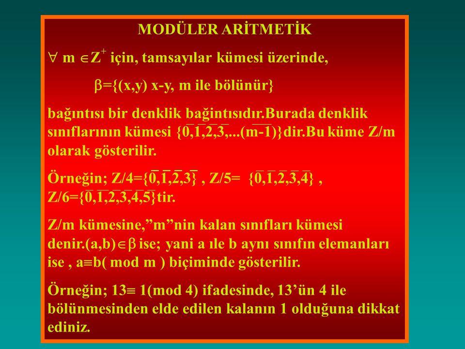MODÜLER ARİTMETİK  m  Z + için, tamsayılar kümesi üzerinde,  ={(x,y) x-y, m ile bölünür} bağıntısı bir denklik bağintısıdır.Burada denklik sınıflarının kümesi {0,1,2,3,...(m-1)}dir.Bu küme Z/m olarak gösterilir.