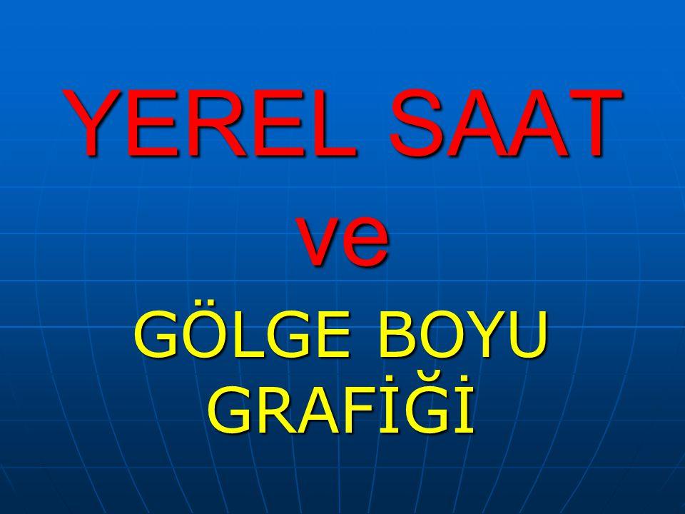 YEREL SAAT Yerel saat şöyle belirlenir; Bir merkezde güneş yükselebileceği en yüksek noktaya ulaştığı an oranın yerel saati 12.00dir.