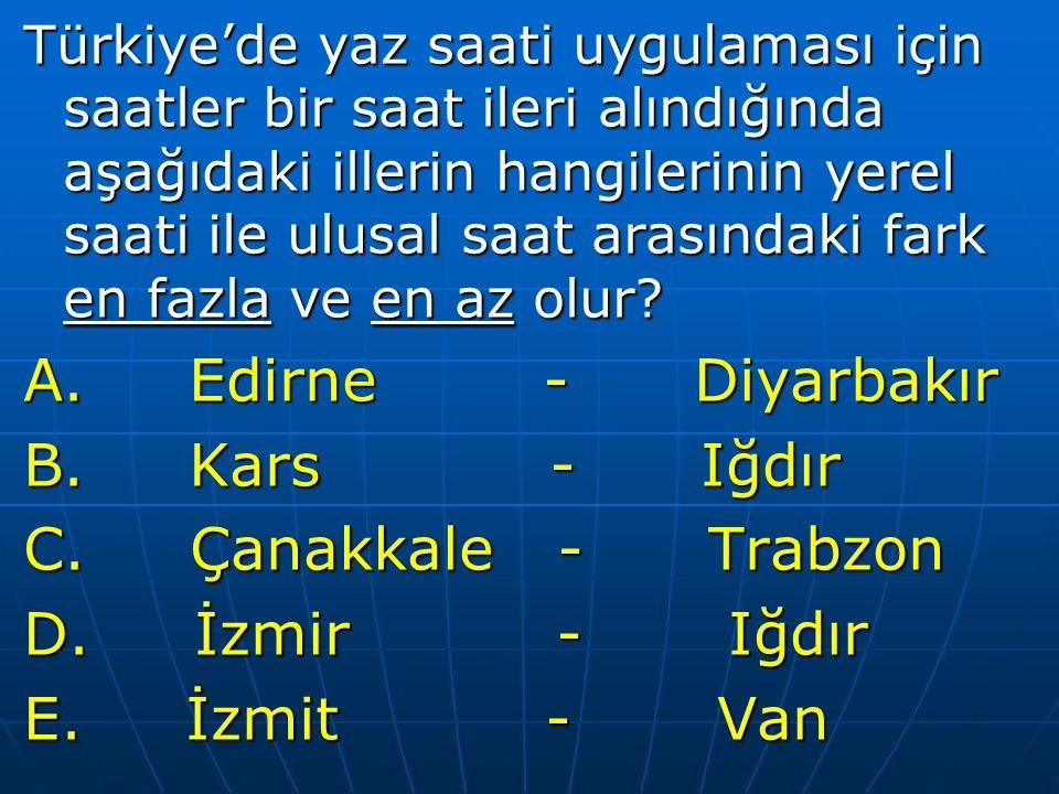 Türkiye'de yaz saati uygulaması için saatler bir saat ileri alındığında aşağıdaki illerin hangilerinin yerel saati ile ulusal saat arasındaki fark en