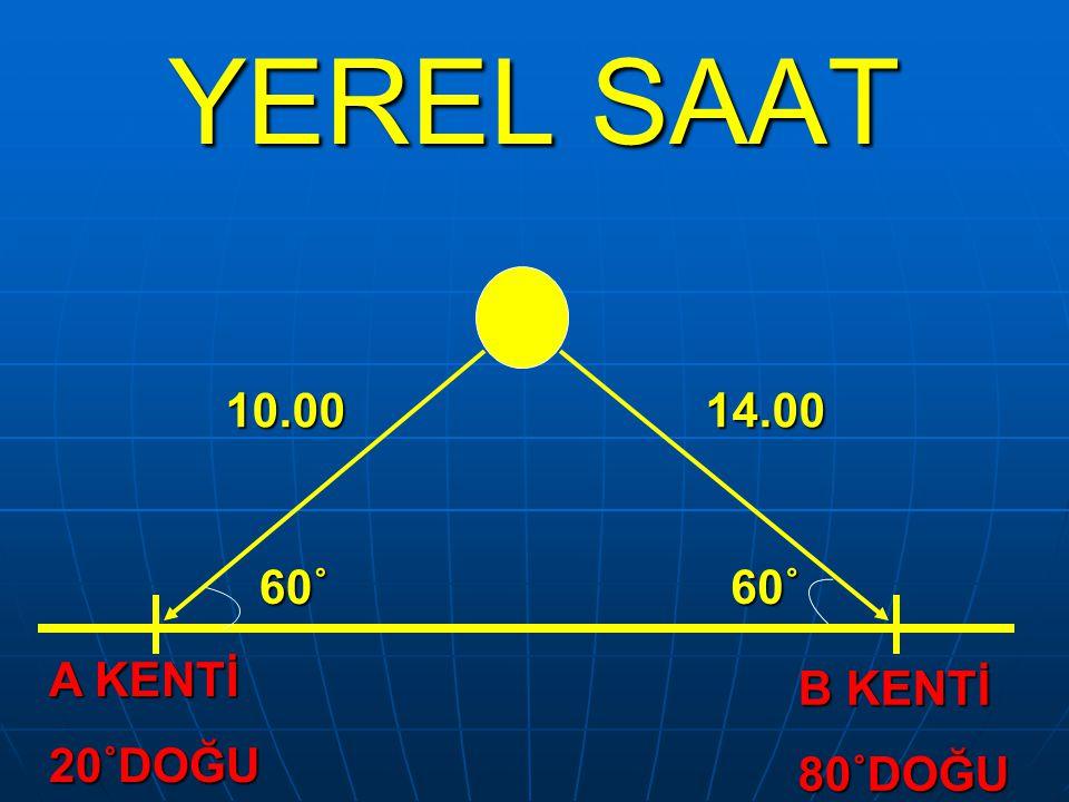 YEREL SAAT A KENTİ 20˚DOĞU B KENTİ 80˚DOĞU 10.0014.00 60˚