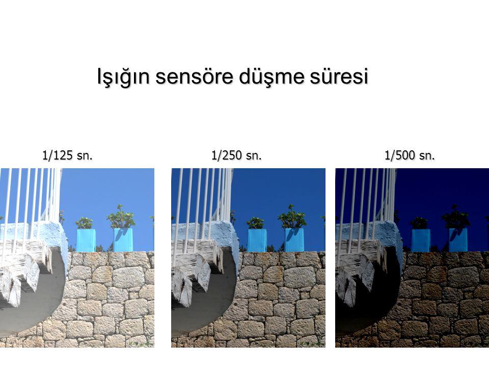 1/125 sn. 1/250 sn. 1/500 sn. Işığın sensöre düşme süresi Işığın sensöre düşme süresi