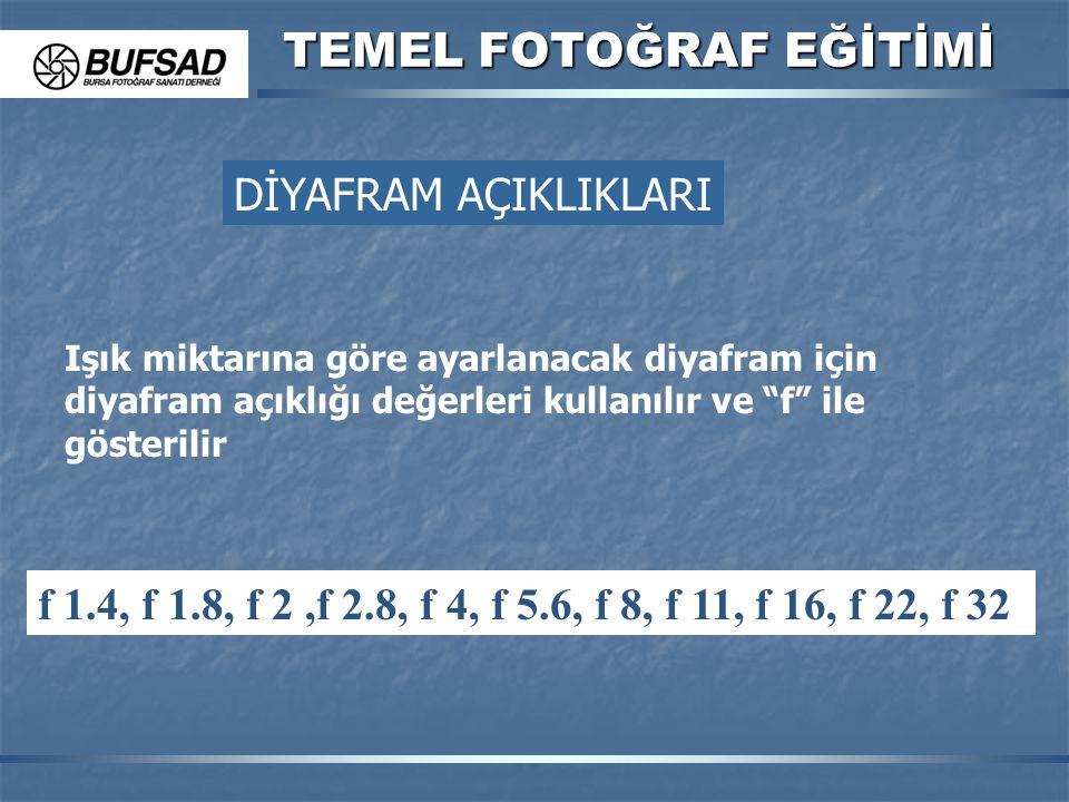 """TEMEL FOTOĞRAF EĞİTİMİ Işık miktarına göre ayarlanacak diyafram için diyafram açıklığı değerleri kullanılır ve """"f"""" ile gösterilir f 1.4, f 1.8, f 2,f"""