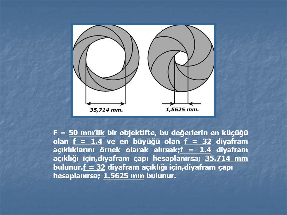 F = 50 mm'lik bir objektifte, bu değerlerin en küçüğü olan f = 1.4 ve en büyüğü olan f = 32 diyafram açıklıklarını örnek olarak alırsak;f = 1.4 diyafr