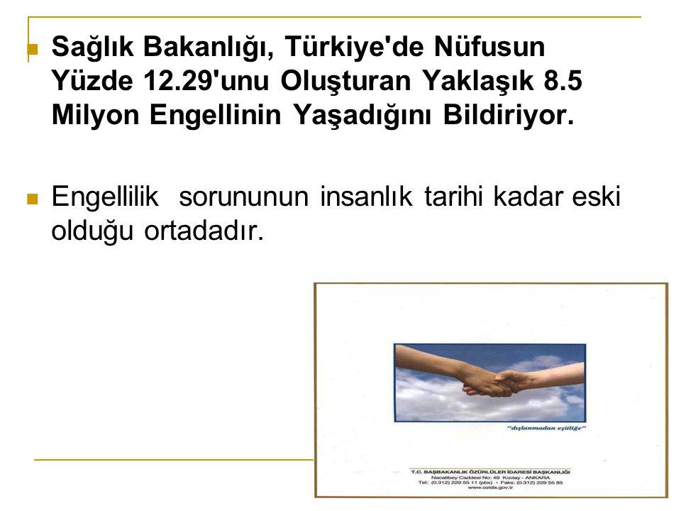 Sağlık Bakanlığı, Türkiye de Nüfusun Yüzde 12.29 unu Oluşturan Yaklaşık 8.5 Milyon Engellinin Yaşadığını Bildiriyor.