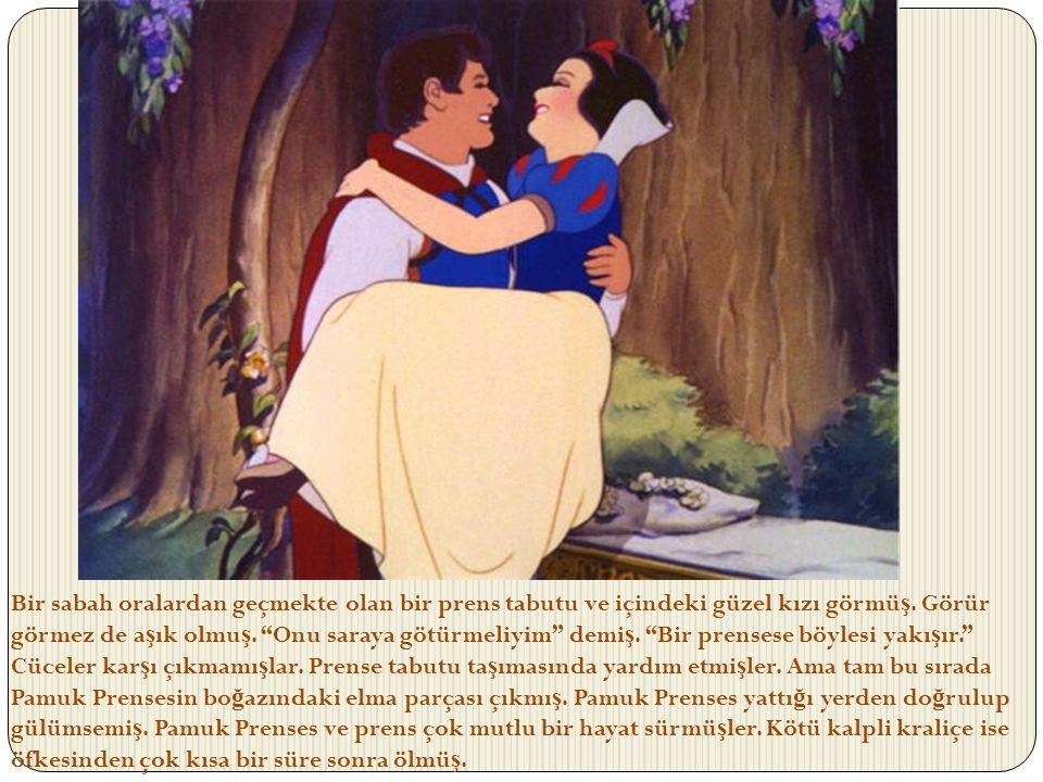 """Bir sabah oralardan geçmekte olan bir prens tabutu ve içindeki güzel kızı görmü ş. Görür görmez de a ş ık olmu ş. """"Onu saraya götürmeliyim"""" demi ş. """"B"""