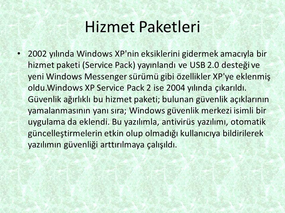 Hizmet Paketleri 2002 yılında Windows XP'nin eksiklerini gidermek amacıyla bir hizmet paketi (Service Pack) yayınlandı ve USB 2.0 desteği ve yeni Wind