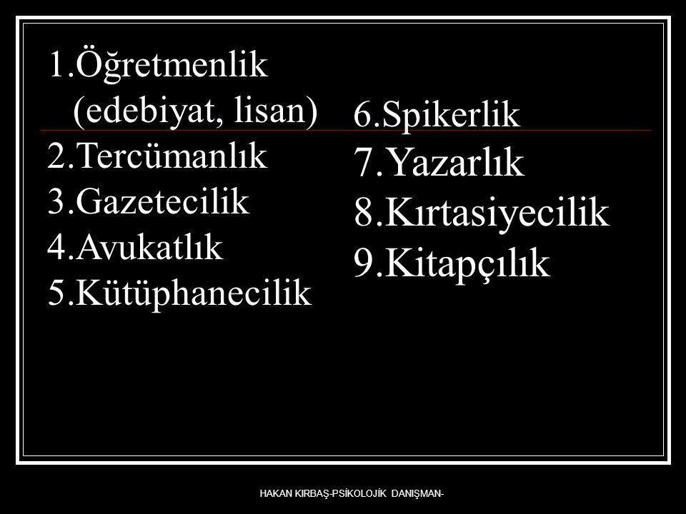 HAKAN KIRBAŞ-PSİKOLOJİK DANIŞMAN- 1.Öğretmenlik (edebiyat, lisan) 2.Tercümanlık 3.Gazetecilik 4.Avukatlık 5.Kütüphanecilik 6.Spikerlik 7.Yazarlık 8.Kı
