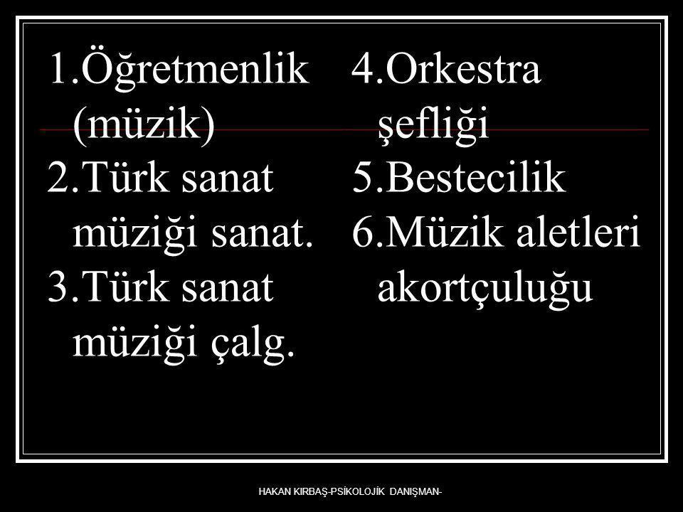 HAKAN KIRBAŞ-PSİKOLOJİK DANIŞMAN- 1.Öğretmenlik (müzik) 2.Türk sanat müziği sanat. 3.Türk sanat müziği çalg. 4.Orkestra şefliği 5.Bestecilik 6.Müzik a