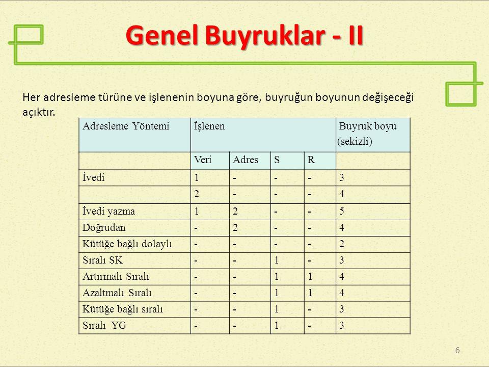 6 6 Genel Buyruklar - II Her adresleme türüne ve işlenenin boyuna göre, buyruğun boyunun değişeceği açıktır. Adresleme Yöntemiİşlenen Buyruk boyu (sek