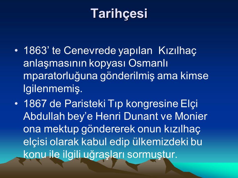 Tarihçesi 1863' te Cenevrede yapılan Kızılhaç anlaşmasının kopyası Osmanlı mparatorluğuna gönderilmiş ama kimse lgilenmemiş. 1867 de Paristeki Tıp kon