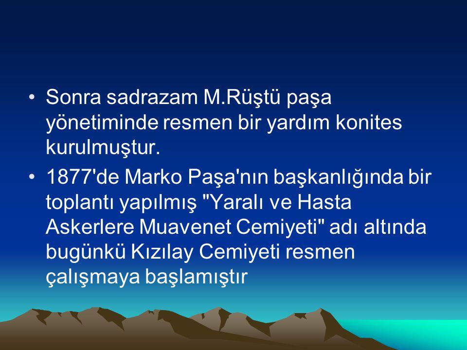 Sonra sadrazam M.Rüştü paşa yönetiminde resmen bir yardım konites kurulmuştur. 1877'de Marko Paşa'nın başkanlığında bir toplantı yapılmış