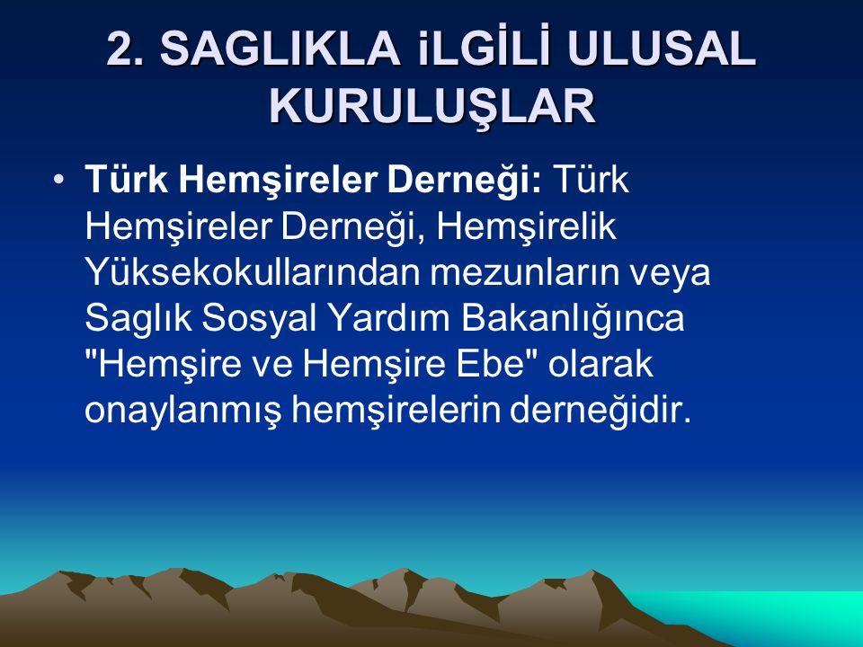 2. SAGLIKLA iLGİLİ ULUSAL KURULUŞLAR Türk Hemşireler Derneği: Türk Hemşireler Derneği, Hemşirelik Yüksekokullarından mezunların veya Saglık Sosyal Yar