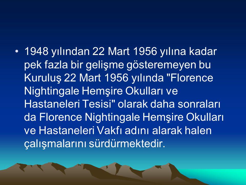 1948 yılından 22 Mart 1956 yılına kadar pek fazla bir gelişme gösteremeyen bu Kuruluş 22 Mart 1956 yılında