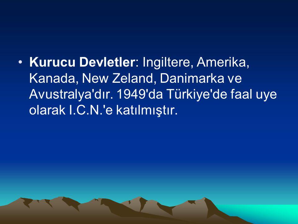 Kurucu Devletler: Ingiltere, Amerika, Kanada, New Zeland, Danimarka ve Avustralya'dır. 1949'da Türkiye'de faal uye olarak I.C.N.'e katılmıştır.