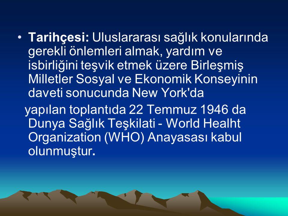 Tarihçesi: Uluslararası sağlık konularında gerekli önlemleri almak, yardım ve isbirliğini teşvik etmek üzere Birleşmiş Milletler Sosyal ve Ekonomik Ko