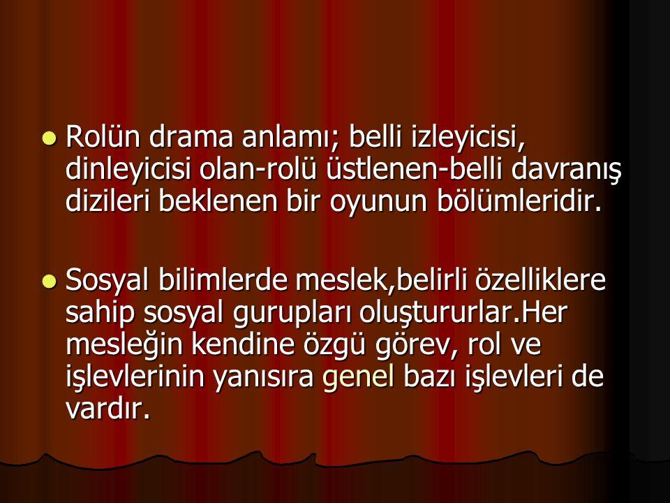 Rolün drama anlamı; belli izleyicisi, dinleyicisi olan-rolü üstlenen-belli davranış dizileri beklenen bir oyunun bölümleridir. Rolün drama anlamı; bel