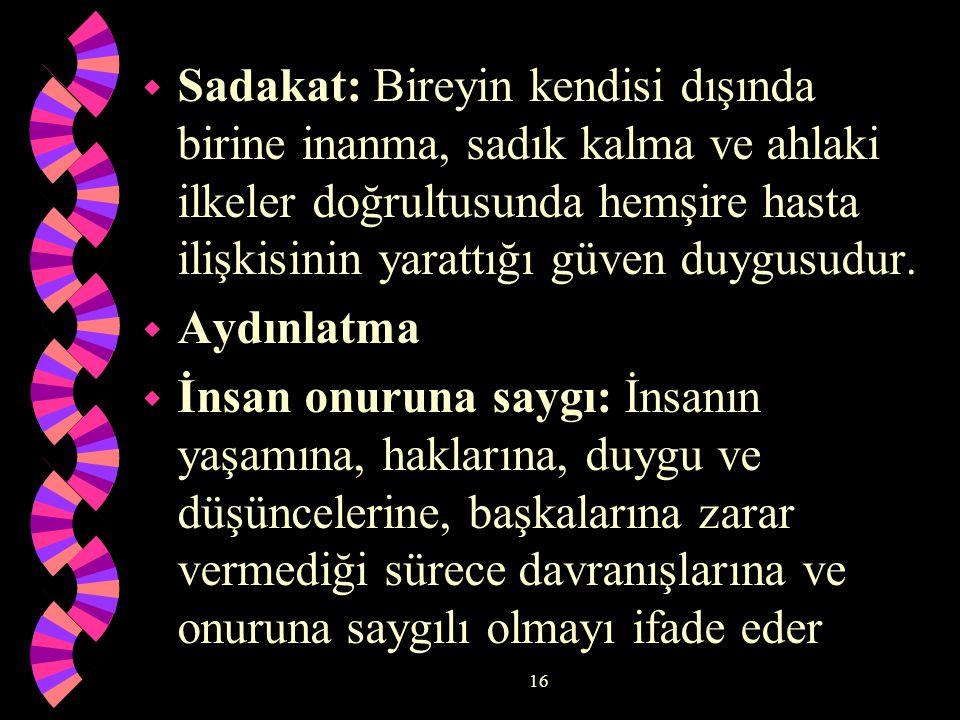 16 w Sadakat: Bireyin kendisi dışında birine inanma, sadık kalma ve ahlaki ilkeler doğrultusunda hemşire hasta ilişkisinin yarattığı güven duygusudur.