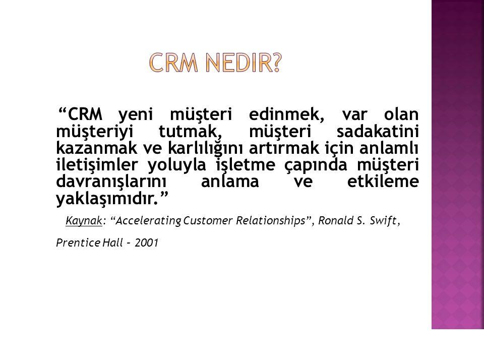 CRM yeni müşteri edinmek, var olan müşteriyi tutmak, müşteri sadakatini kazanmak ve karlılığını artırmak için anlamlı iletişimler yoluyla işletme çapında müşteri davranışlarını anlama ve etkileme yaklaşımıdır. Kaynak: Accelerating Customer Relationships , Ronald S.