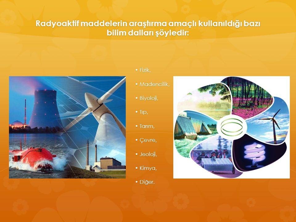 Radyoaktif maddelerin araştırma amaçlı kullanıldığı bazı bilim dalları şöyledir: Fizik, Fizik, Madencilik, Madencilik, Biyoloji, Biyoloji, Tıp, Tıp, T
