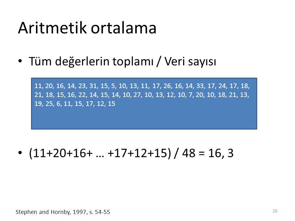 Aritmetik ortalama Tüm değerlerin toplamı / Veri sayısı (11+20+16+ … +17+12+15) / 48 = 16, 3 26 Stephen and Hornby, 1997, s.