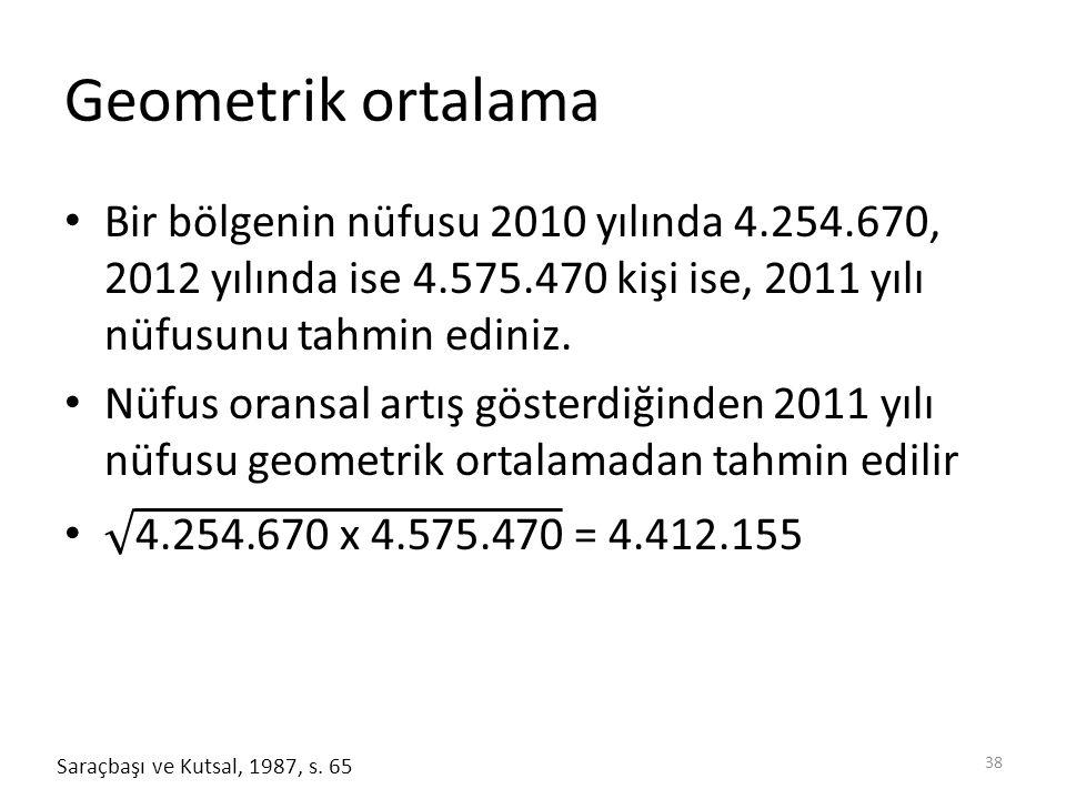 Geometrik ortalama 38 Saraçbaşı ve Kutsal, 1987, s. 65