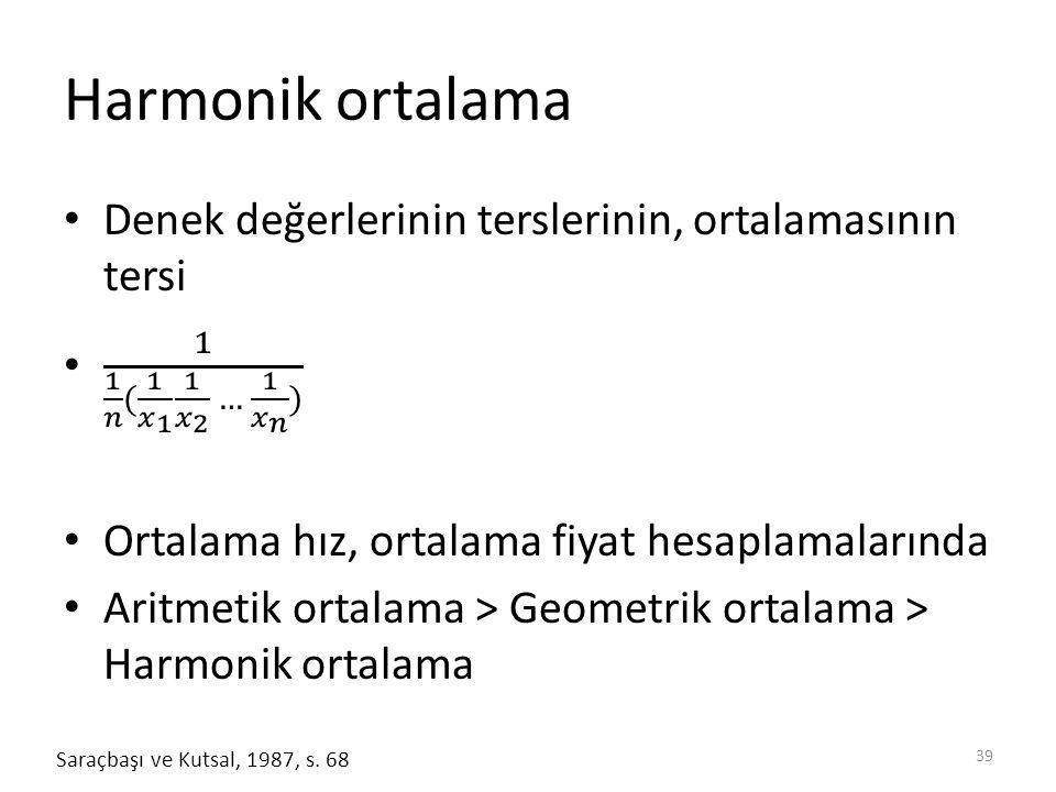 Harmonik ortalama 39 Saraçbaşı ve Kutsal, 1987, s. 68