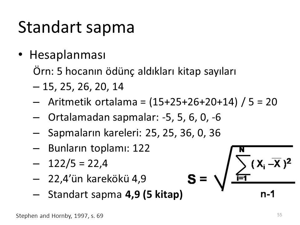 Standart sapma Hesaplanması Örn: 5 hocanın ödünç aldıkları kitap sayıları – 15, 25, 26, 20, 14 – Aritmetik ortalama = (15+25+26+20+14) / 5 = 20 – Ortalamadan sapmalar: -5, 5, 6, 0, -6 – Sapmaların kareleri: 25, 25, 36, 0, 36 – Bunların toplamı: 122 – 122/5 = 22,4 – 22,4'ün karekökü 4,9 – Standart sapma 4,9 (5 kitap) 55 Stephen and Hornby, 1997, s.