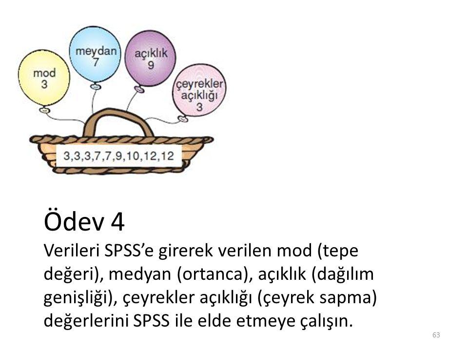 63 Ödev 4 Verileri SPSS'e girerek verilen mod (tepe değeri), medyan (ortanca), açıklık (dağılım genişliği), çeyrekler açıklığı (çeyrek sapma) değerlerini SPSS ile elde etmeye çalışın.