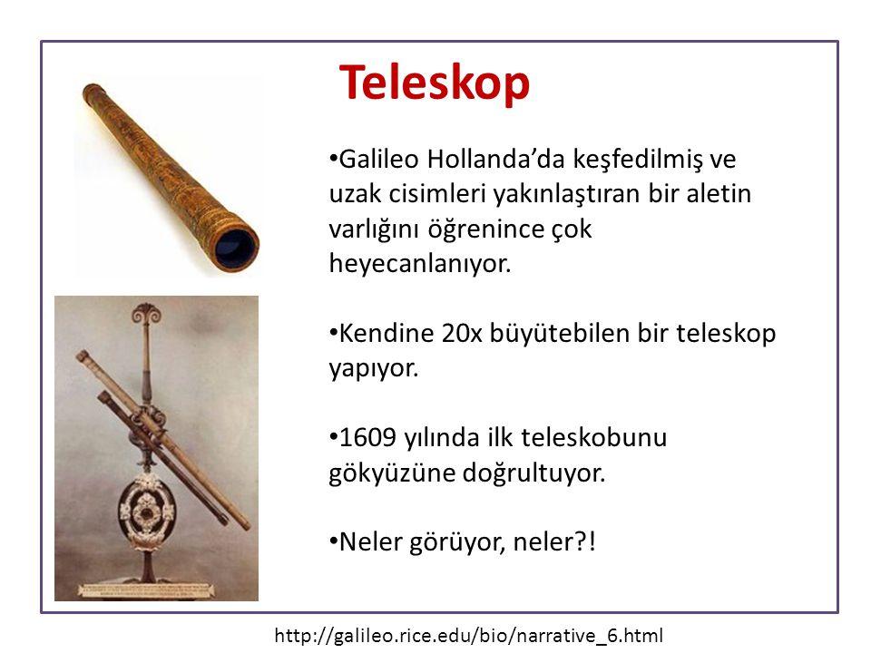 Teleskop Galileo Hollanda'da keşfedilmiş ve uzak cisimleri yakınlaştıran bir aletin varlığını öğrenince çok heyecanlanıyor. Kendine 20x büyütebilen bi