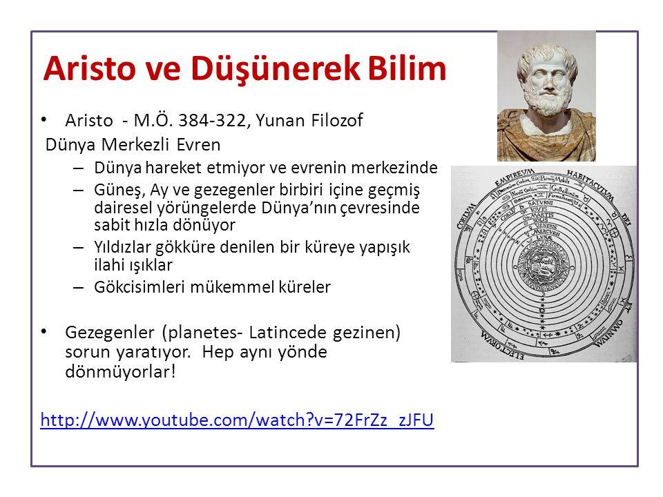 Aristo - M.Ö. 384-322, Yunan Filozof Dünya Merkezli Evren – Dünya hareket etmiyor ve evrenin merkezinde – Güneş, Ay ve gezegenler birbiri içine geçmiş