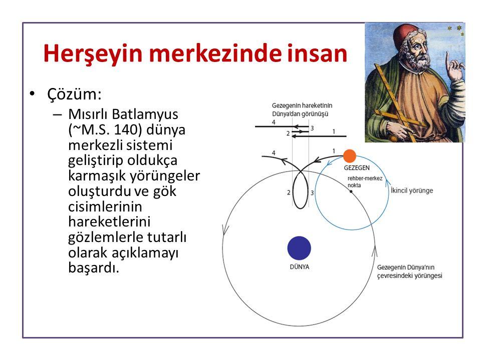 Çözüm: – Mısırlı Batlamyus (~M.S. 140) dünya merkezli sistemi geliştirip oldukça karmaşık yörüngeler oluşturdu ve gök cisimlerinin hareketlerini gözle