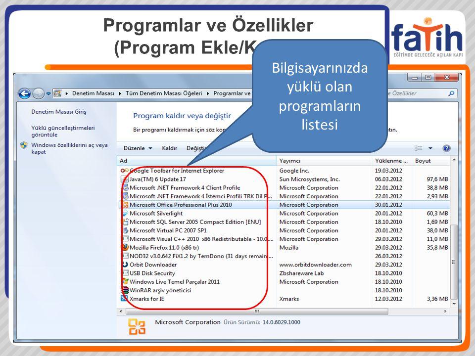 Bilgisayarınızda yüklü olan programların listesi