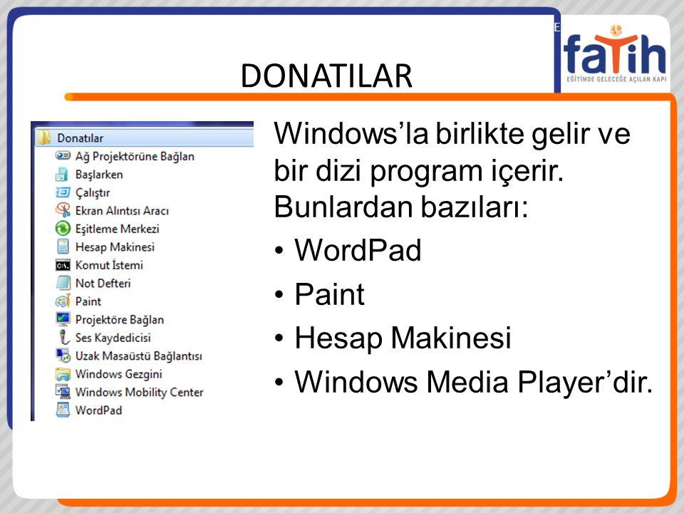 İŞLETİM SİSTEMİNİ KULLANMABİLGİSAYAR KULLANMA DONATILAR Windows'la birlikte gelir ve bir dizi program içerir. Bunlardan bazıları: WordPad Paint Hesap