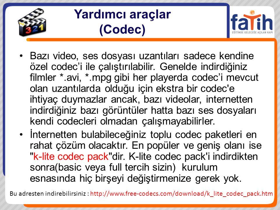 Yardımcı araçlar (Codec) Bazı video, ses dosyası uzantıları sadece kendine özel codec'i ile çalıştırılabilir. Genelde indirdiğiniz filmler *.avi, *.mp