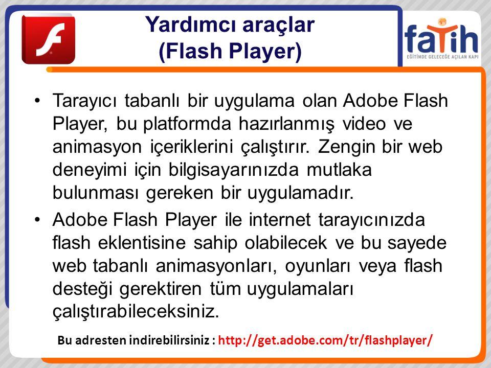 Yardımcı araçlar (Flash Player) Tarayıcı tabanlı bir uygulama olan Adobe Flash Player, bu platformda hazırlanmış video ve animasyon içeriklerini çalış