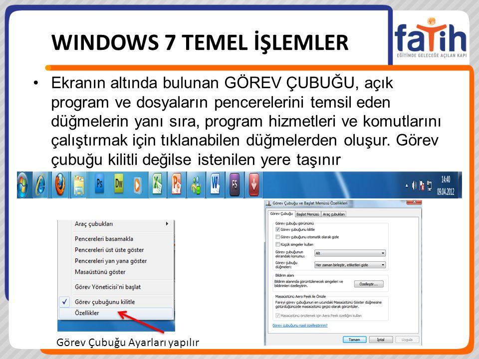 Ekranın altında bulunan GÖREV ÇUBUĞU, açık program ve dosyaların pencerelerini temsil eden düğmelerin yanı sıra, program hizmetleri ve komutlarını çal