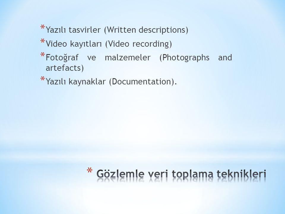 * Yazılı tasvirler (Written descriptions) * Video kayıtları (Video recording) * Fotoğraf ve malzemeler (Photographs and artefacts) * Yazılı kaynaklar