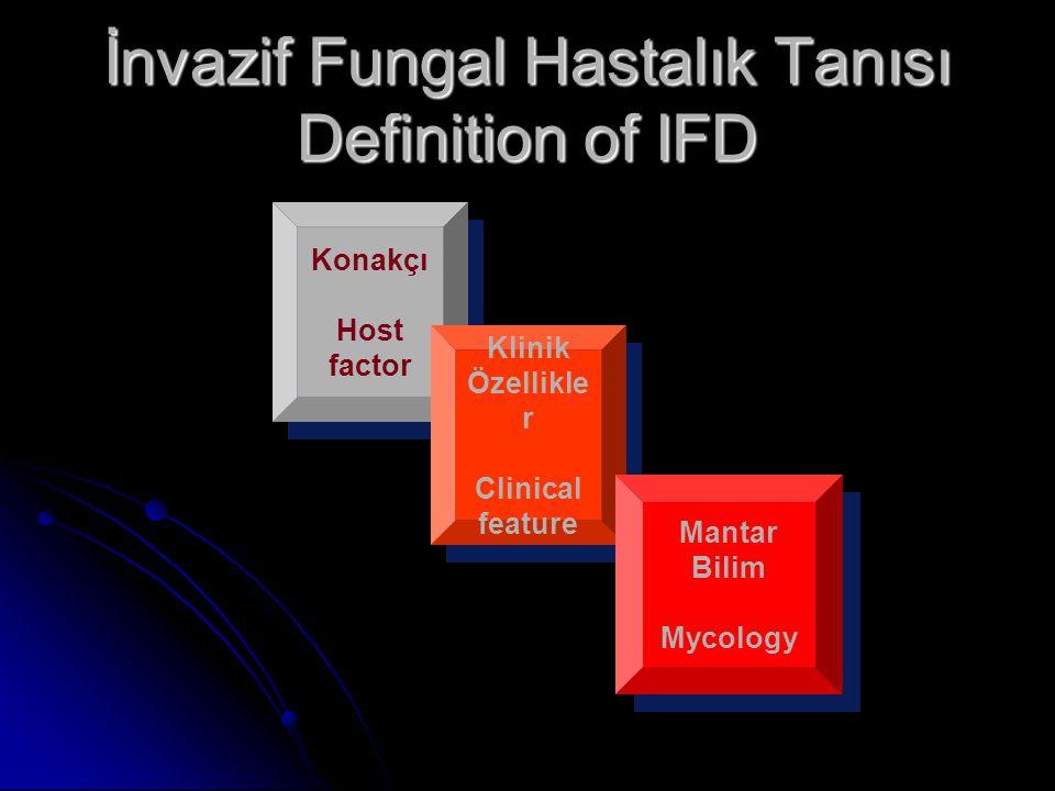 İnvazif Fungal Hastalık Tanısı Definition of IFD Konakçı Host factor Klinik Özellikle r Clinical feature Mantar Bilim Mycology
