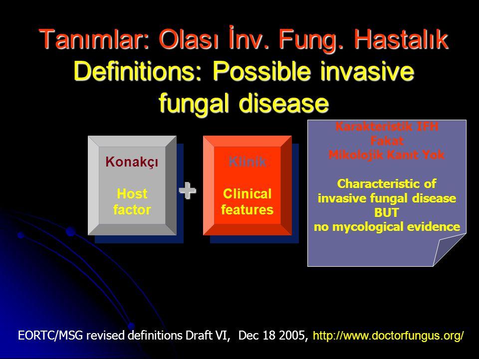 Tanımlar: Olası İnv. Fung. Hastalık Definitions: Possible invasive fungal disease Konakçı Host factor Klinik Clinical features+ Karakteristik IFH Faka