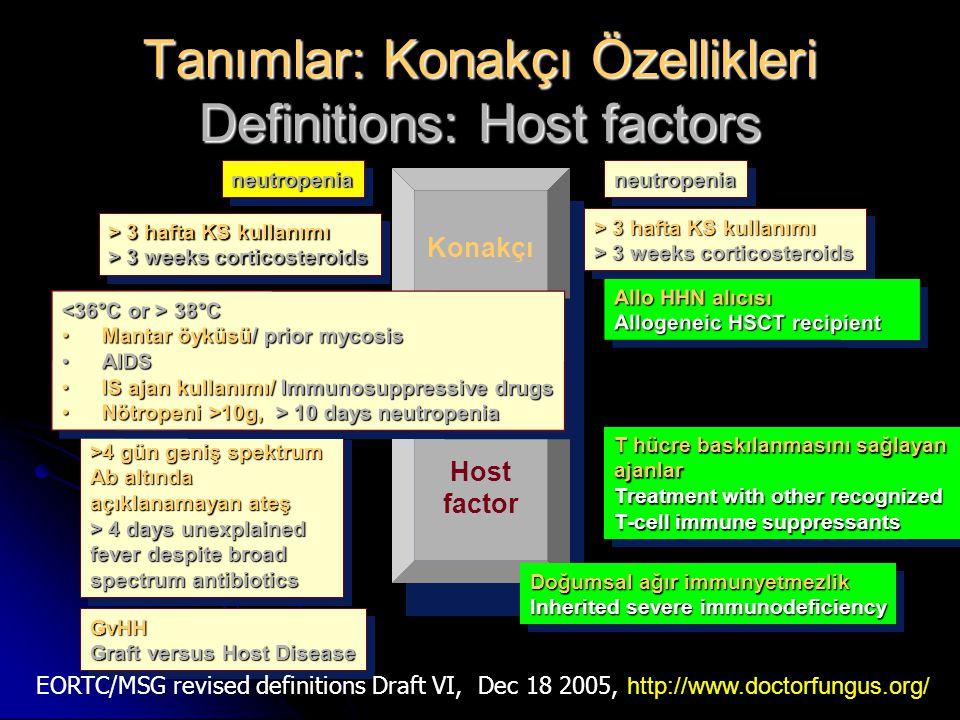 neutropenianeutropenia Tanımlar: Konakçı Özellikleri Definitions: Host factors Konakçı Host factor T hücre baskılanmasını sağlayan ajanlar Treatment w