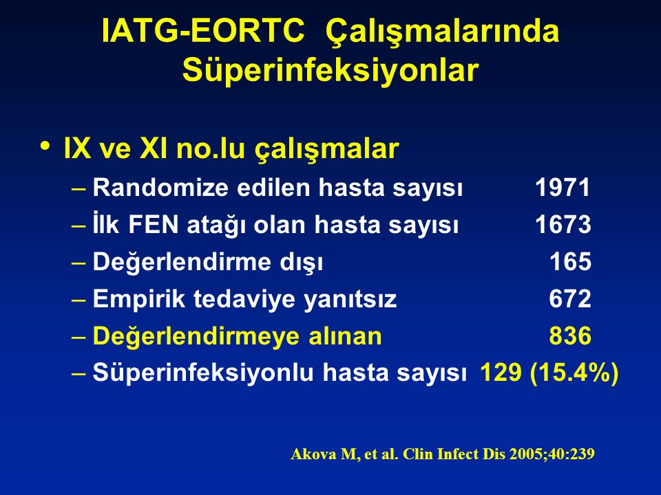 IATG-EORTC Çalışmalarında Süperinfeksiyonlar IX ve XI no.lu çalışmalar –Randomize edilen hasta sayısı1971 –İlk FEN atağı olan hasta sayısı1673 –Değerlendirme dışı 165 –Empirik tedaviye yanıtsız 672 –Değerlendirmeye alınan 836 –Süperinfeksiyonlu hasta sayısı129 (15.4%) Akova M, et al.
