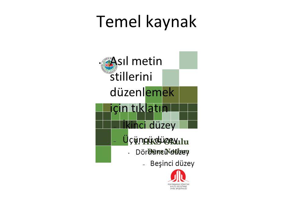 Temel kaynak Asıl metin stillerini düzenlemek için tıklatın – İkinci düzey – Üçüncü düzey Dördüncü düzey – Beşinci düzey